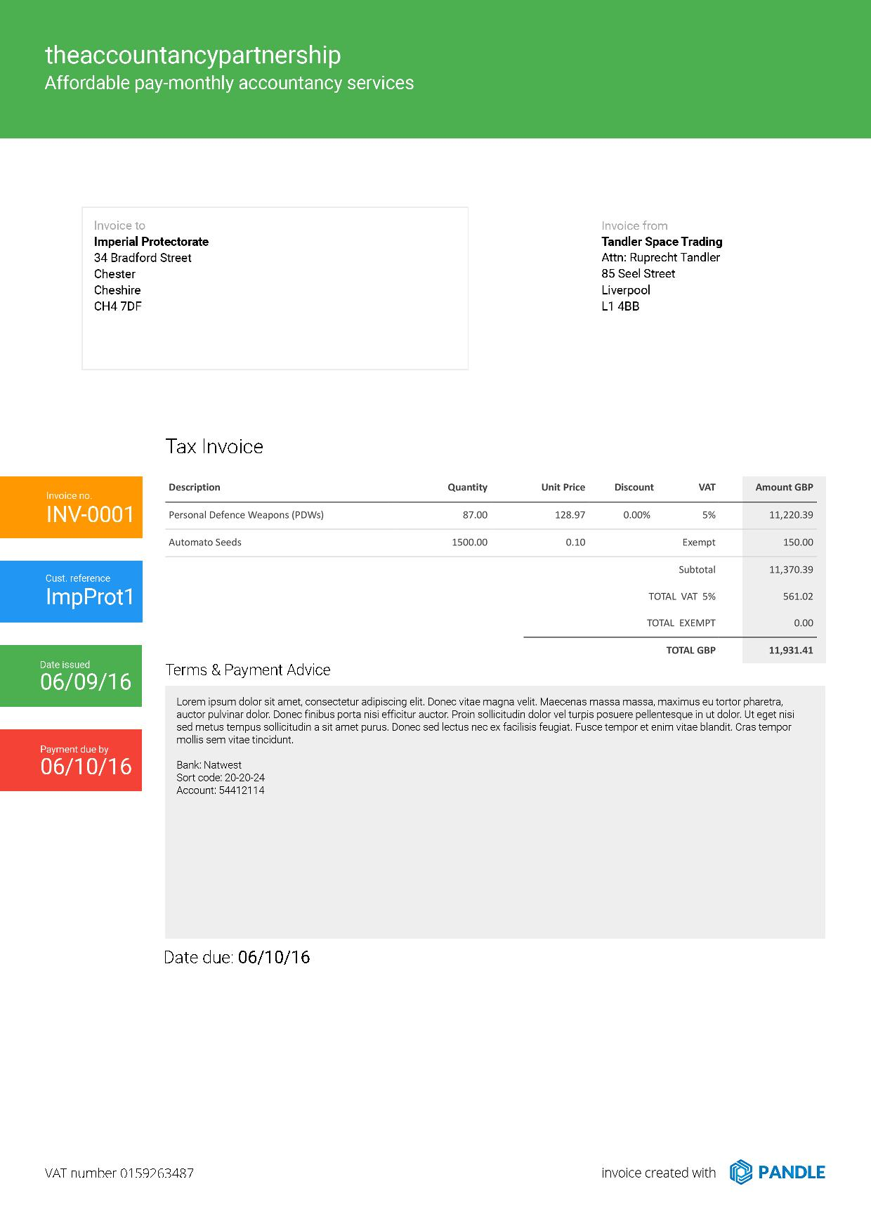 pandle invoice updates and templates pandle