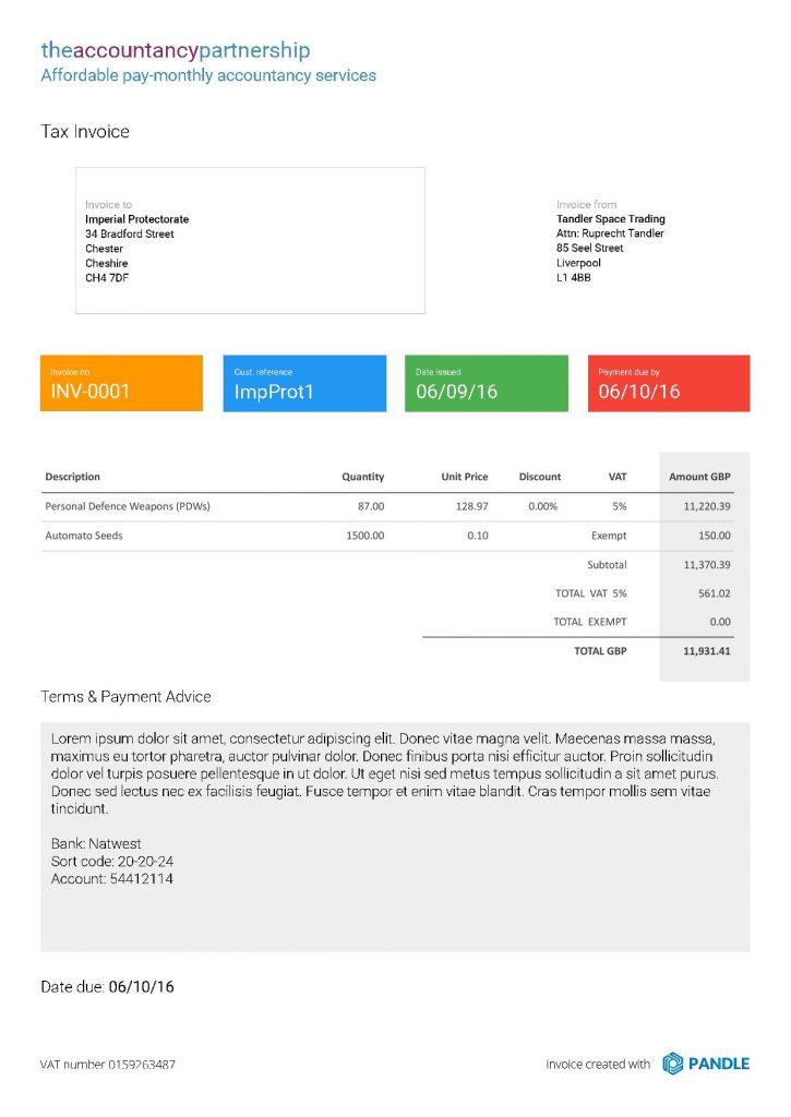 Pandle new invoice templates: Alpha