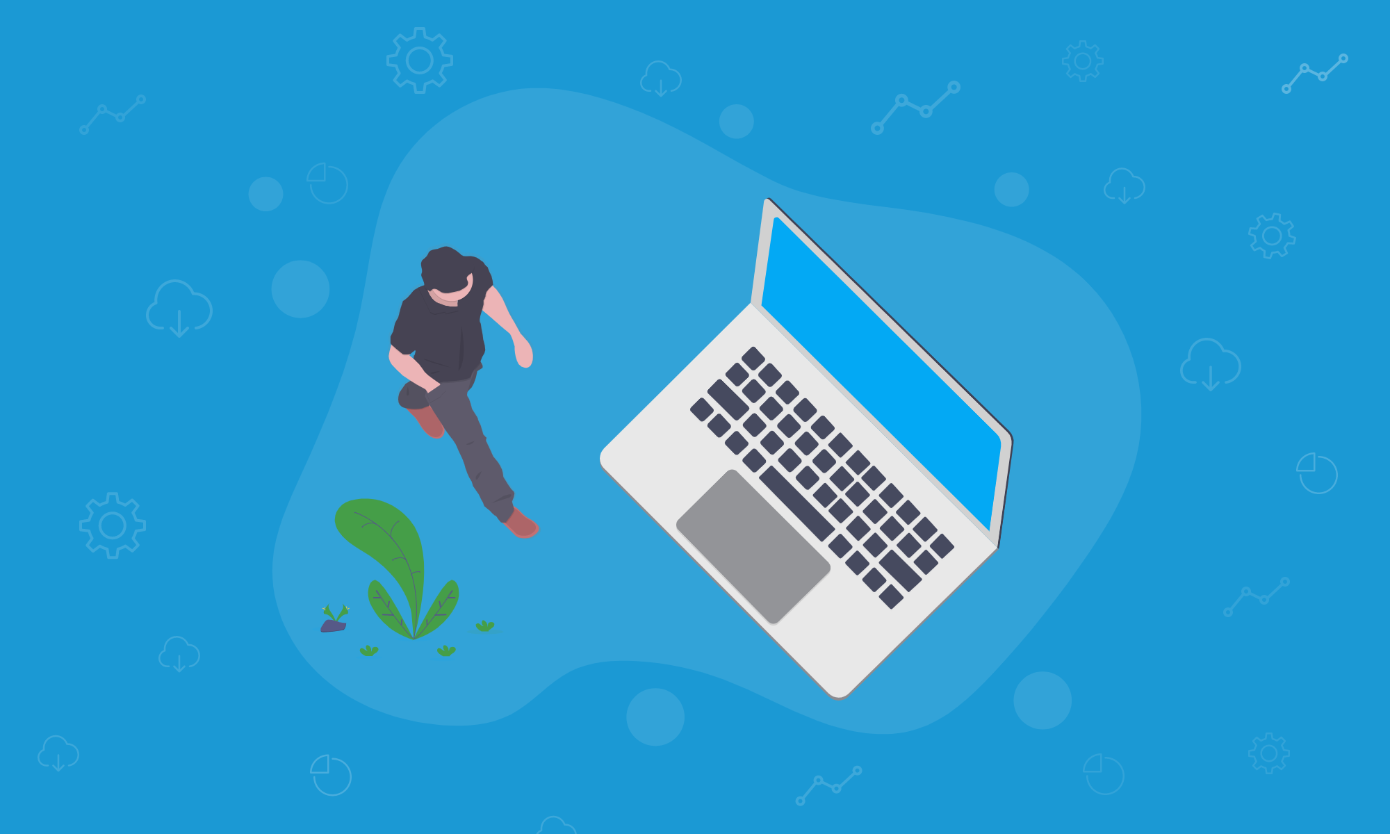 Vector illustration of man walking towards a laptop to demonstrate The Profit Points of Business Startups