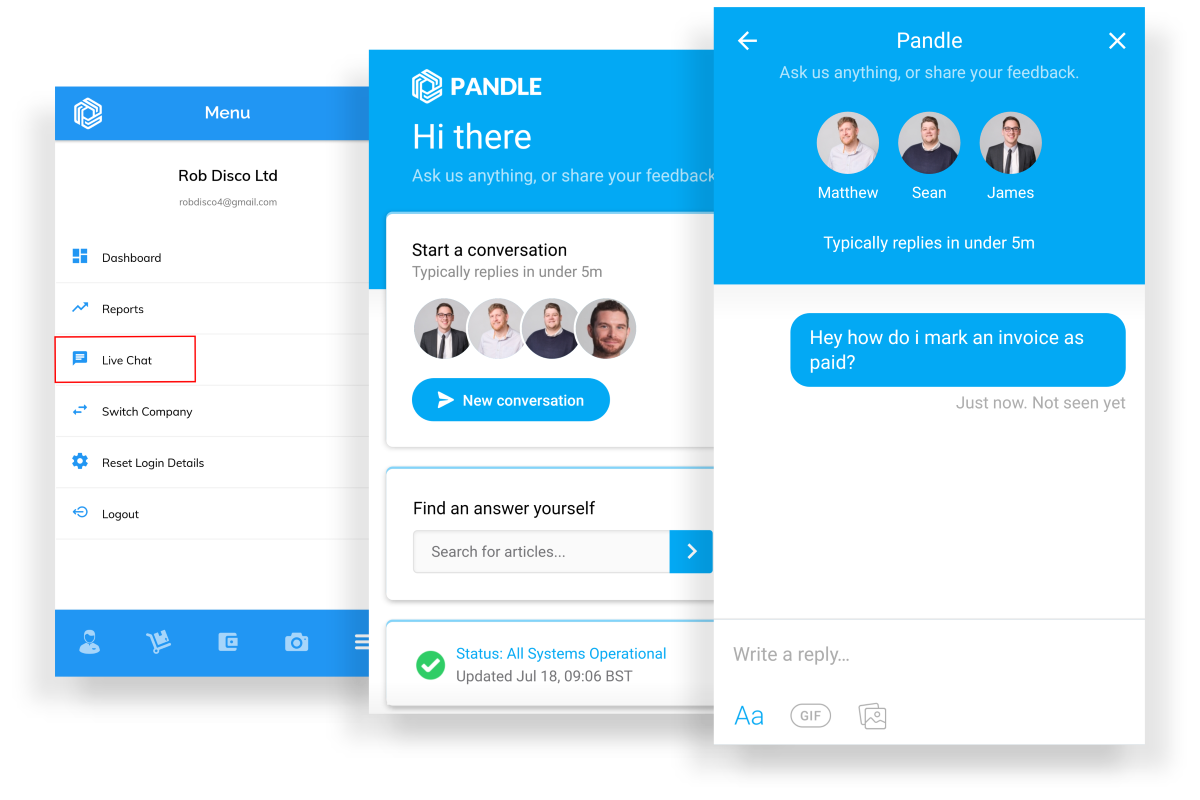 Live Chat for Pandle Mobile